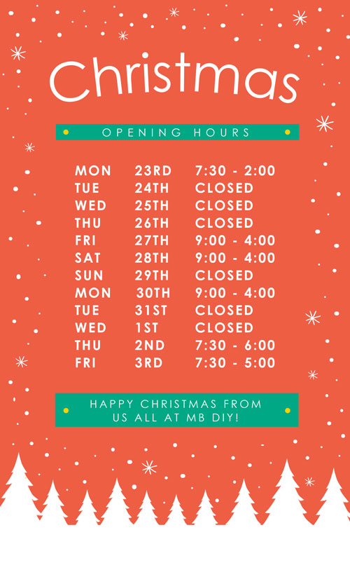 MB Christmas Opening Hours
