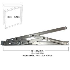 Yale Securistyle Side Hung Restricted Friction Hinge 16inch / 16mm stack - Right Handed