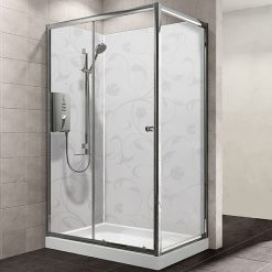 Mb Mineral XL White Floral Shower Panel